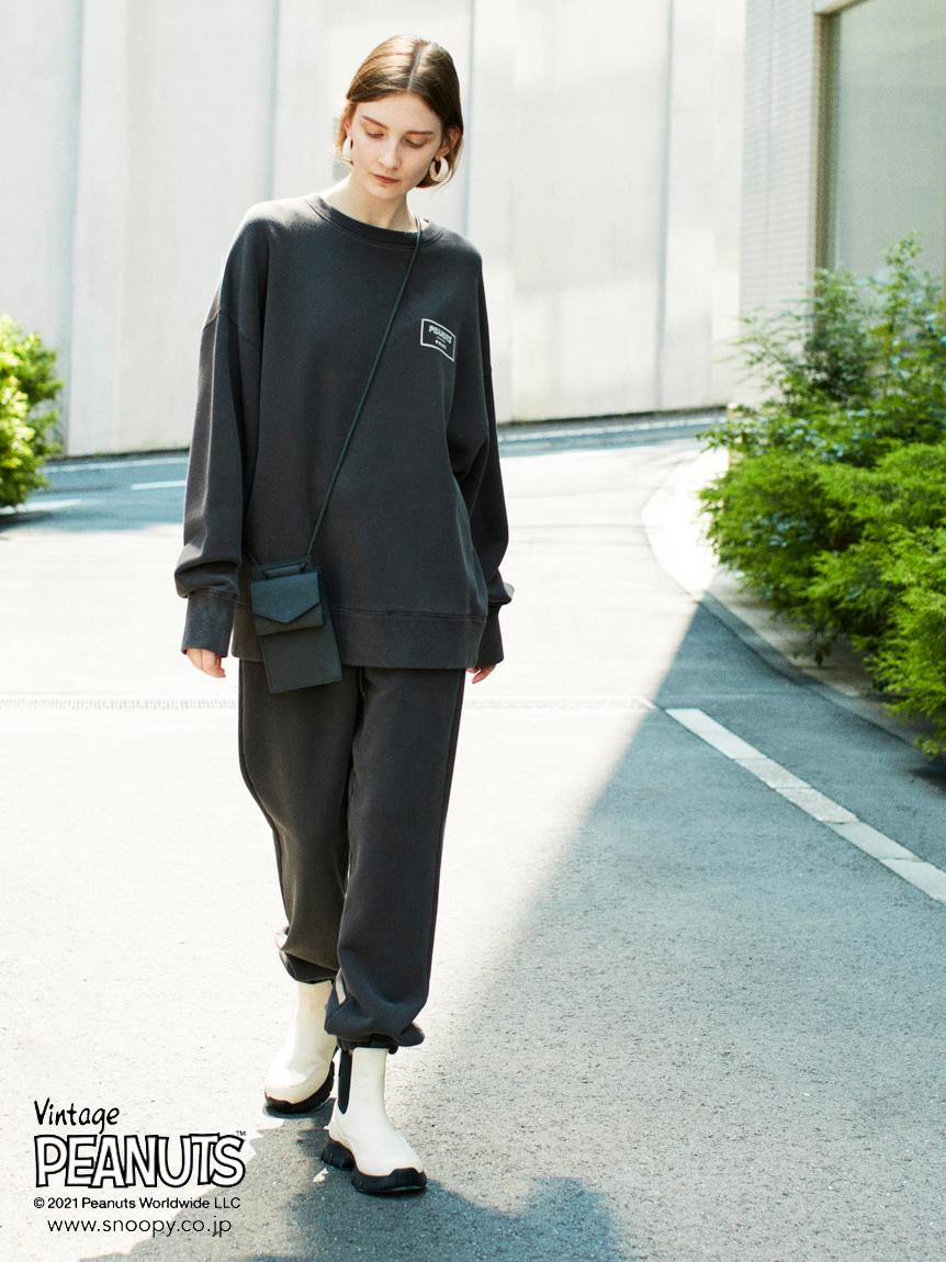 【emmi yoga】PEANUTSコラボ裏毛パンツ(CGRY-F)