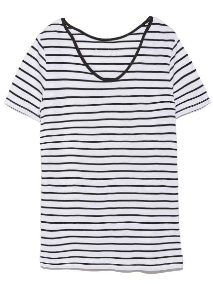 【emmi yoga】接結Tシャツ(WHTxBLK-F)