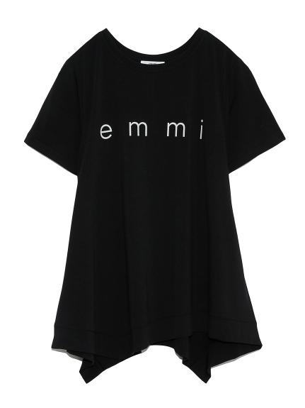 【emmi yoga】emmiロゴフレアTEE(BLK-F)