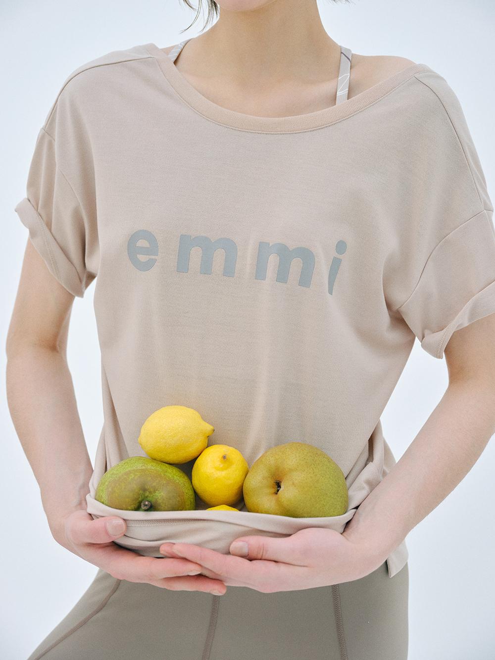 【emmi yoga】eco・emmiロゴT-shirt(BEG-F)