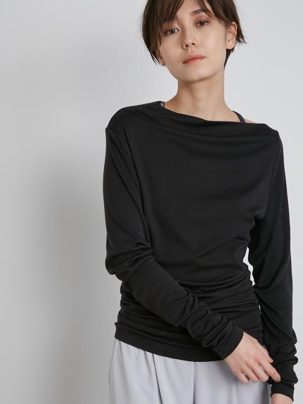 【emmi yoga】オフショルダーロングTshirt(BLK-F)