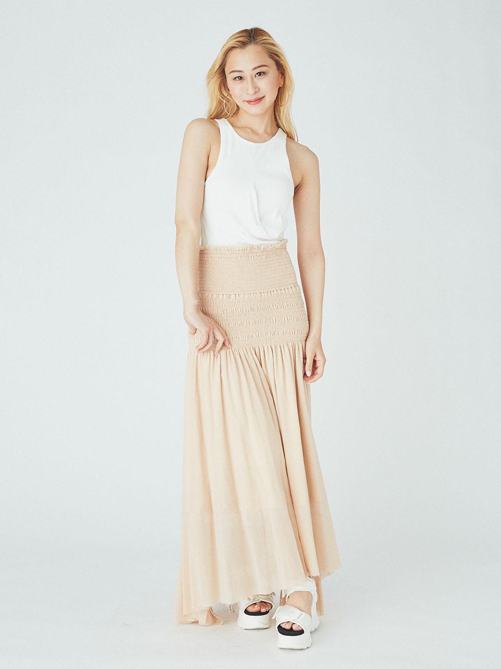 【emmi yoga】Select by aya yoga 2Way シャーリングスカート(ORG-F)
