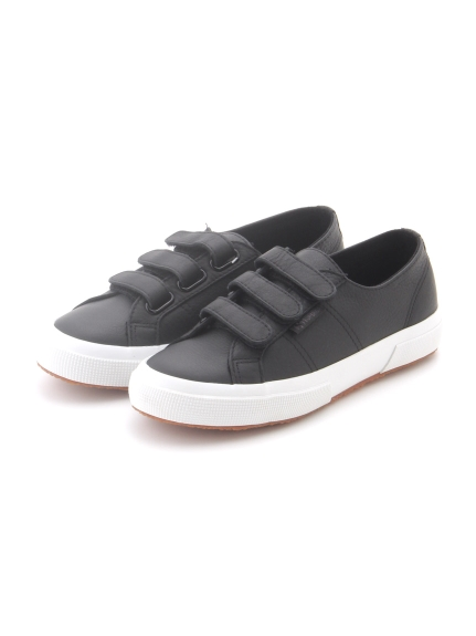【SUPERGA】2750-3STRAPS TUMBLED LEATHERU(BLK-36)