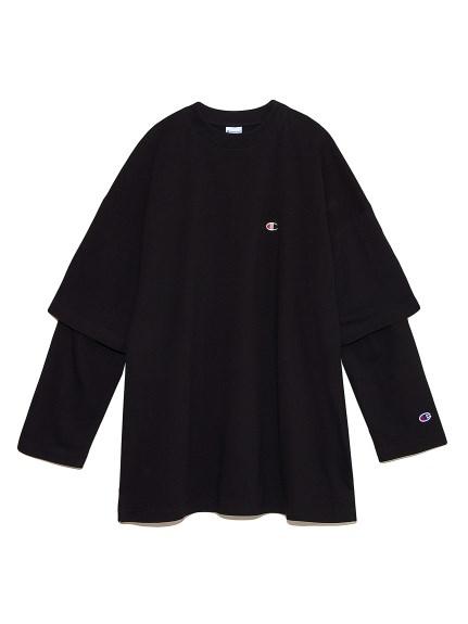 【FRAY I.D×Champion】レイヤードロングTシャツ(BLK-F)