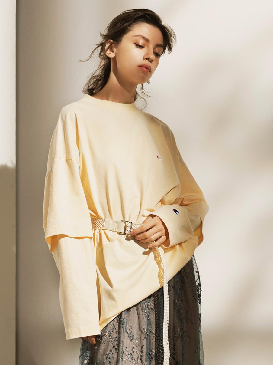 【FRAY I.D×Champion】レイヤードロングTシャツ(YEL-F)