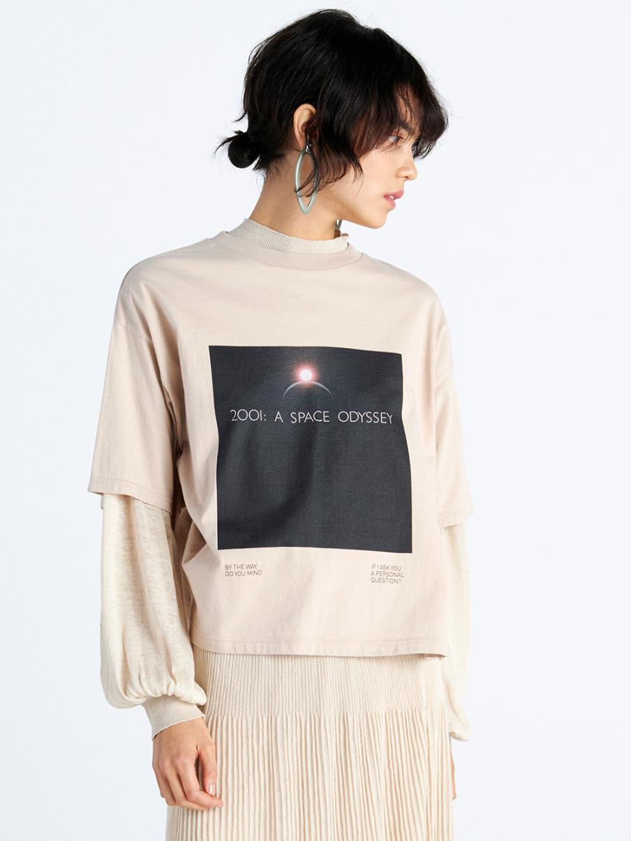 ブラックスクエアTシャツ(BEG-F)