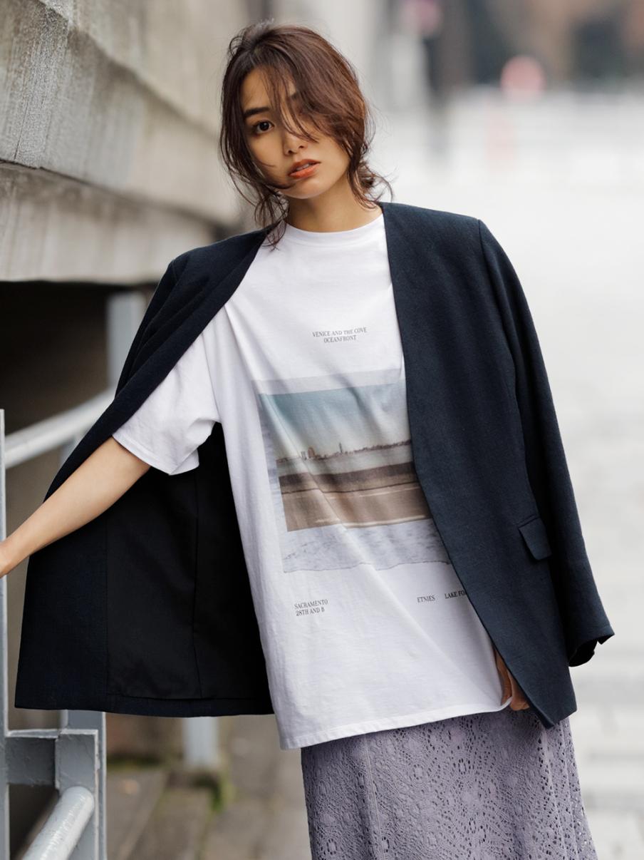 フロントフォトTシャツ(WHT-F)