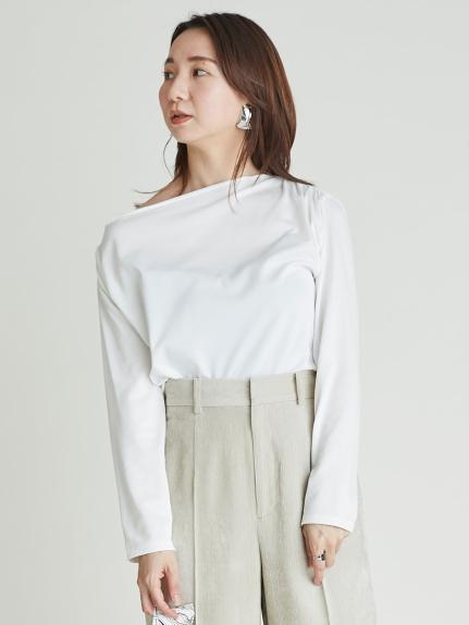 アシメネックラインTシャツ(WHT-F)
