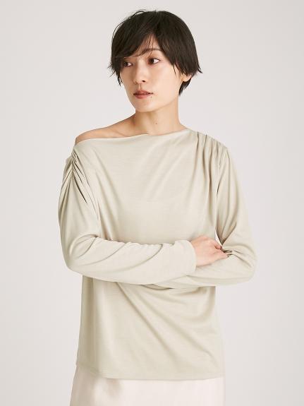 アシメネックラインTシャツ(OLV-F)
