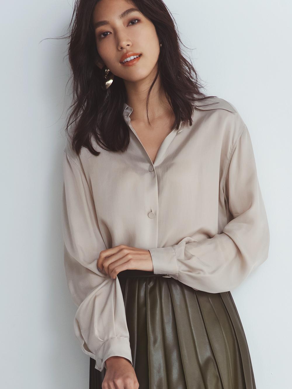 ビックカラーサテンシャツ(BEG-F)