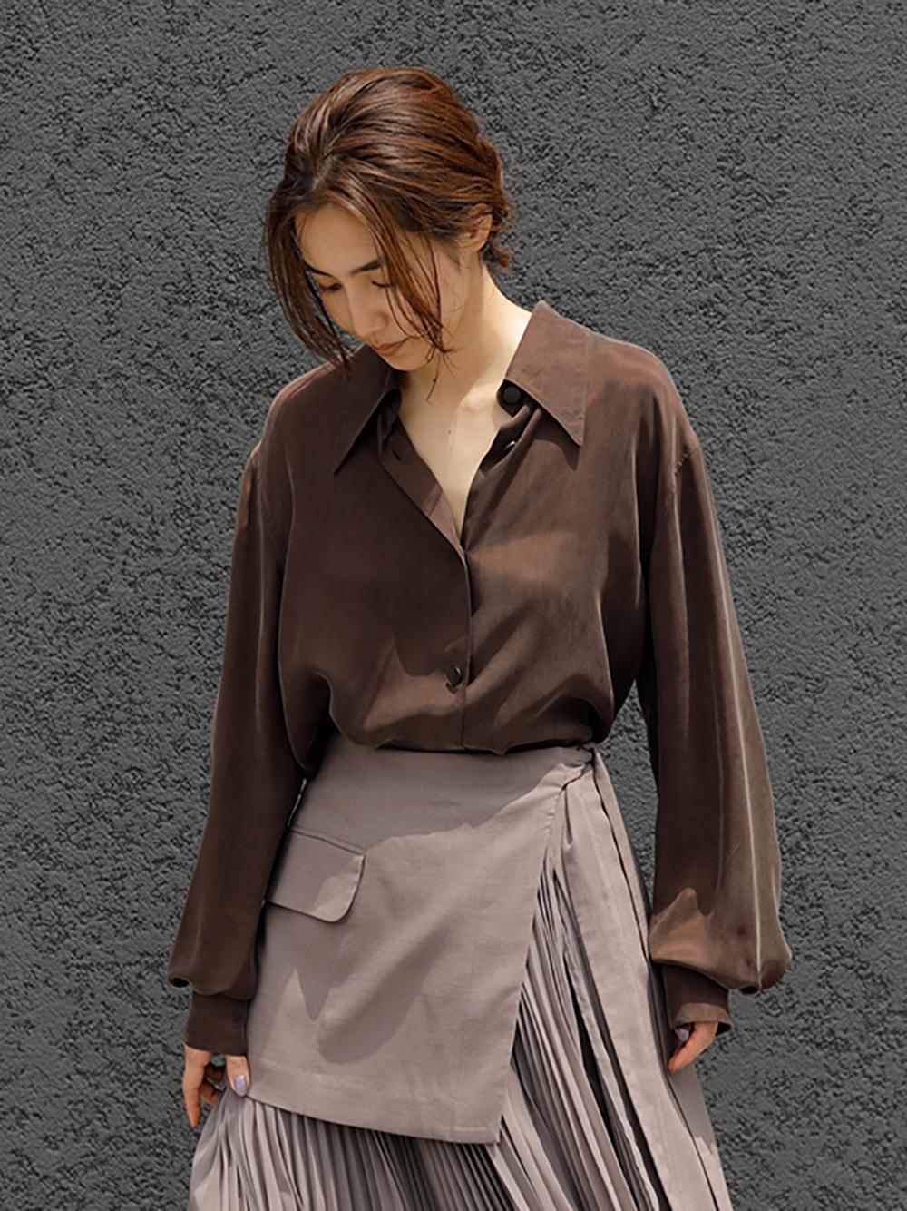 ビックカラーサテンシャツ(BRW-F)