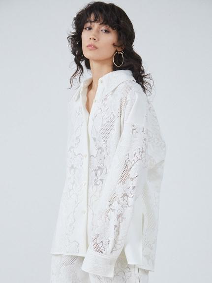 パネルレースオーバーシャツ