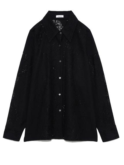 パネルレースオーバーシャツ(BLK-0)