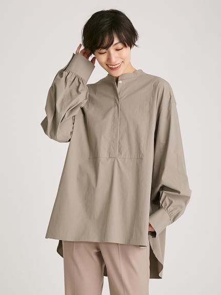 バンドカラーバックデザインシャツ(GRY-F)
