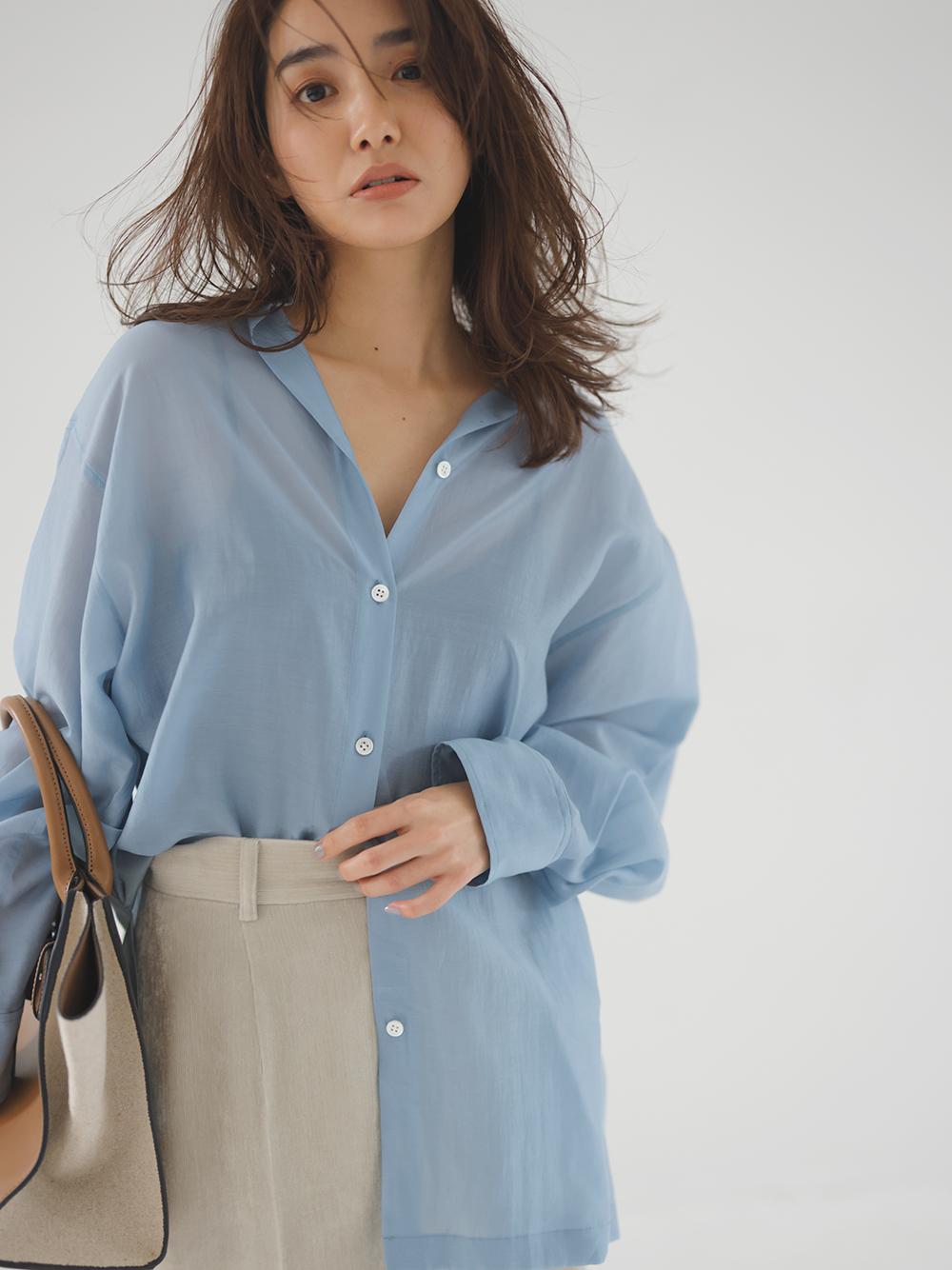 バックスリットシアーシャツ(BLU-F)