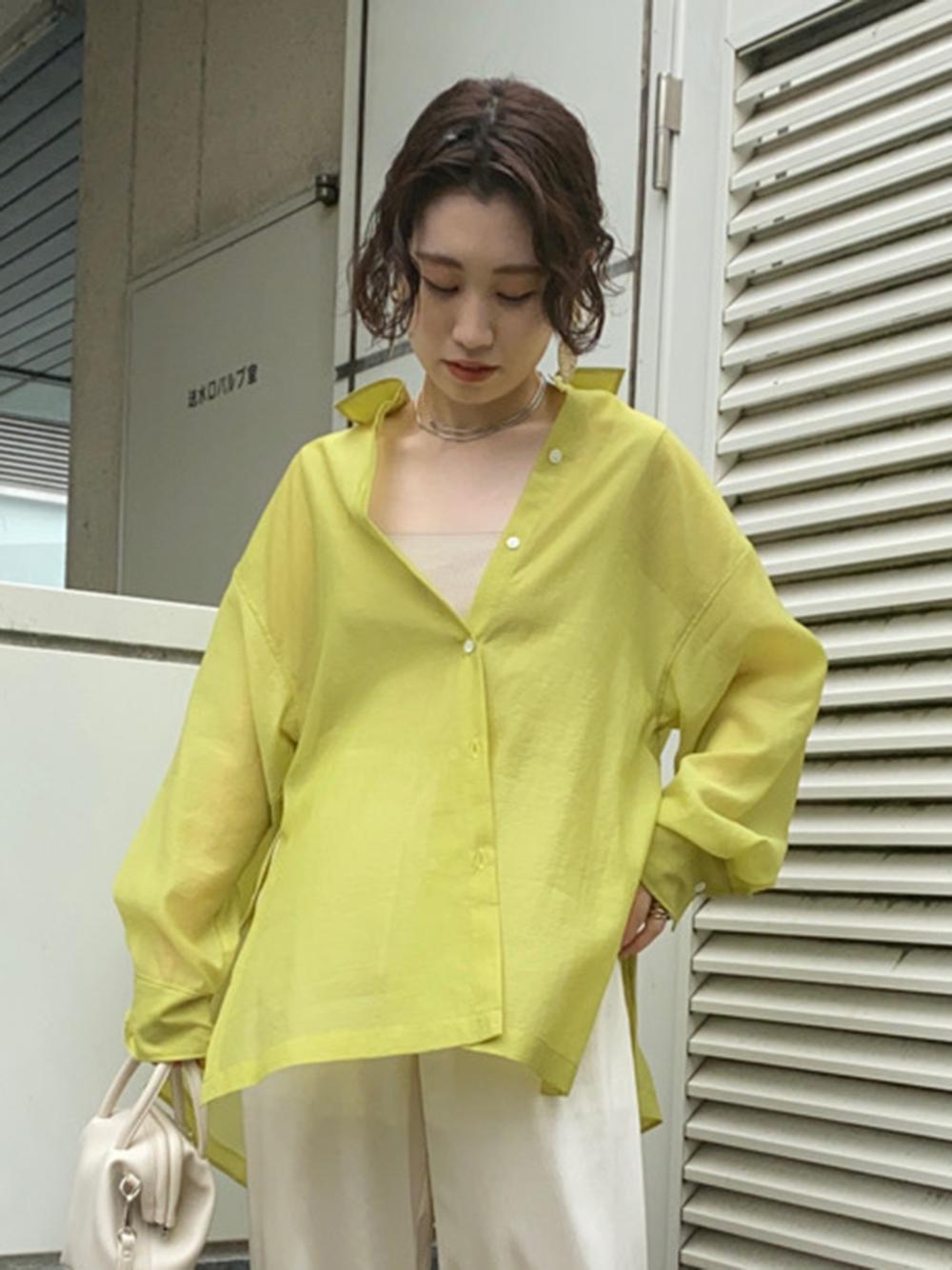 サイドボタンシアーシャツ(YEL-F)
