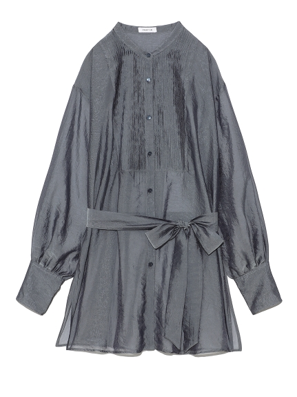 オーガンジーバンドカラーシャツ(BLU-F)