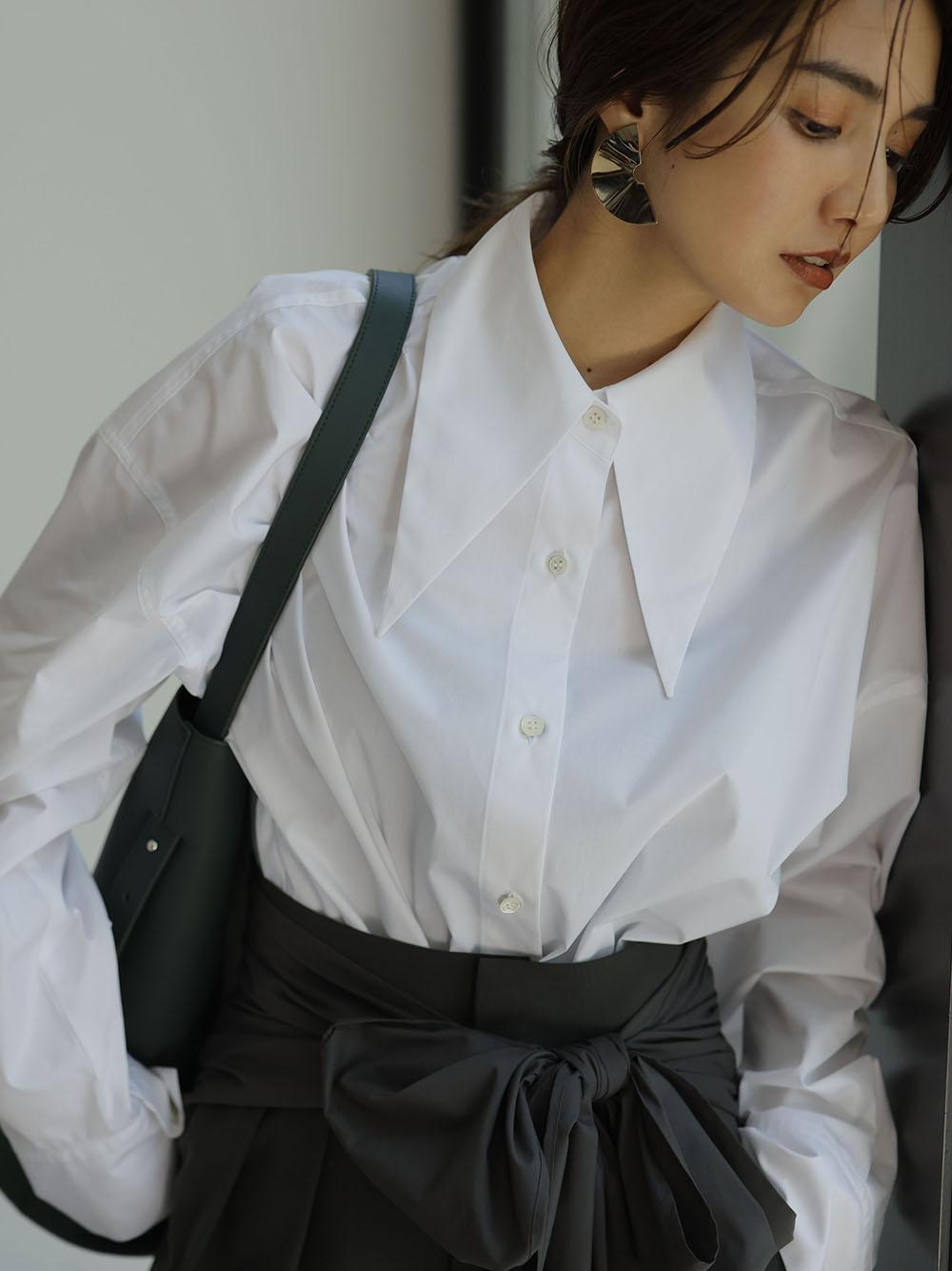 ロングポイントカラーシャツ(WHT-0)