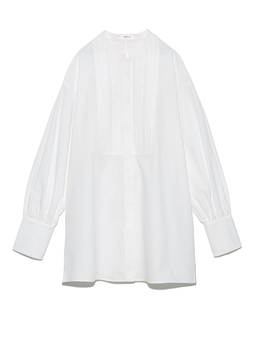 バンドカラーランダムピンタックシャツ(WHT-F)