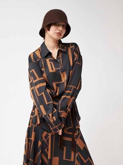 プリントルーズシャツ(BLK-F)