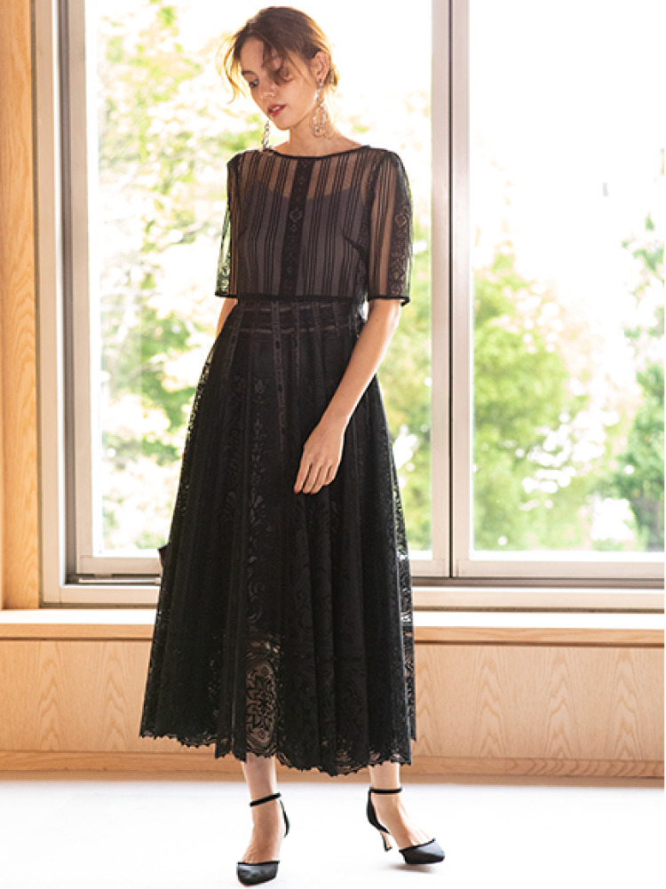 パネルレースドレス