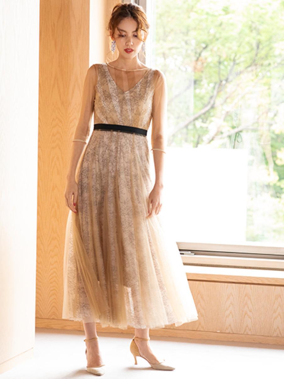チュールレースドレス(BEG-0)