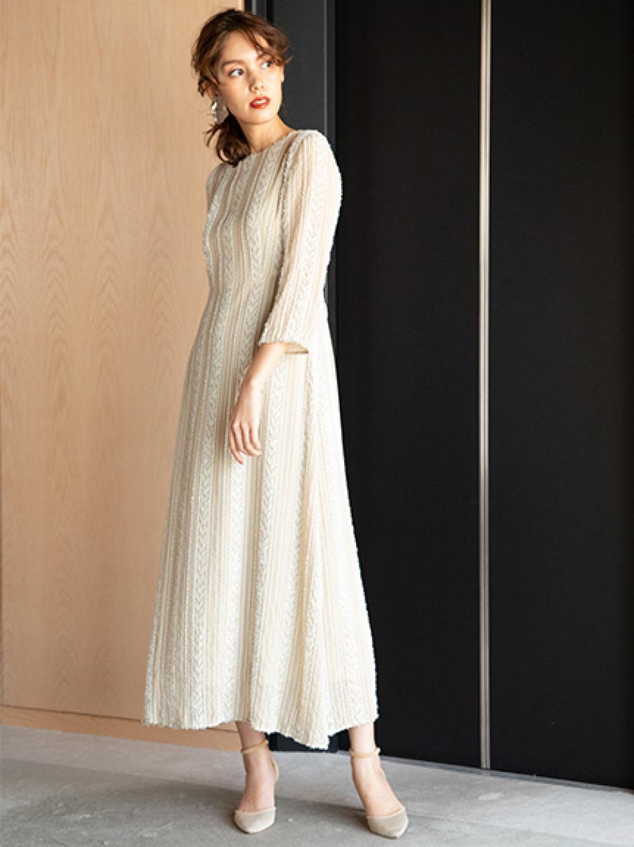 ストライプカットジャガードドレス(BEG-0)