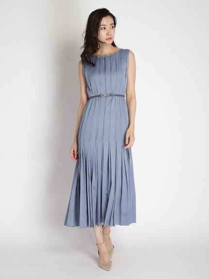 ステッチプリーツドレス(BLU-0)