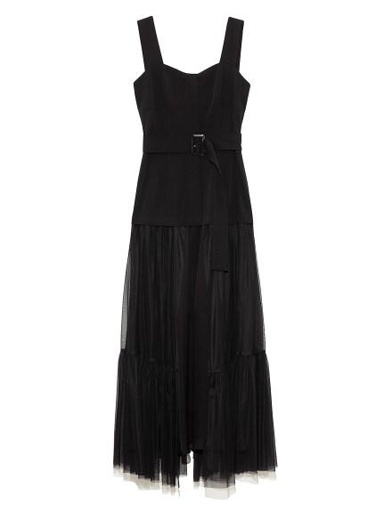 チュールスカートタイトドレス(BLK-0)
