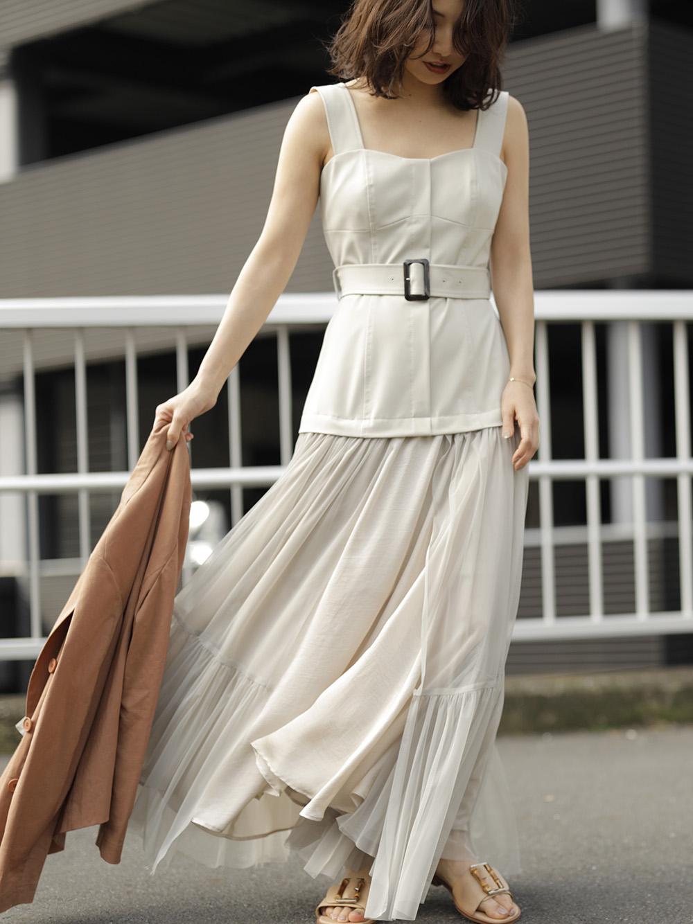 チュールスカートタイトドレス(BEG-0)