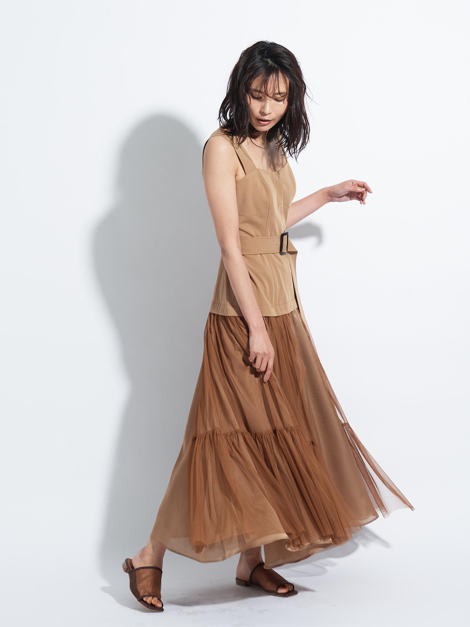 チュールスカートタイトドレス(CML(限定カラー)-0)