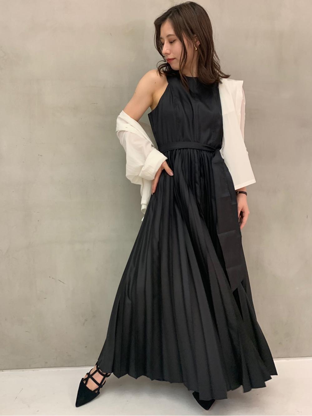 グロッシープリーツドレス(BLK-0)