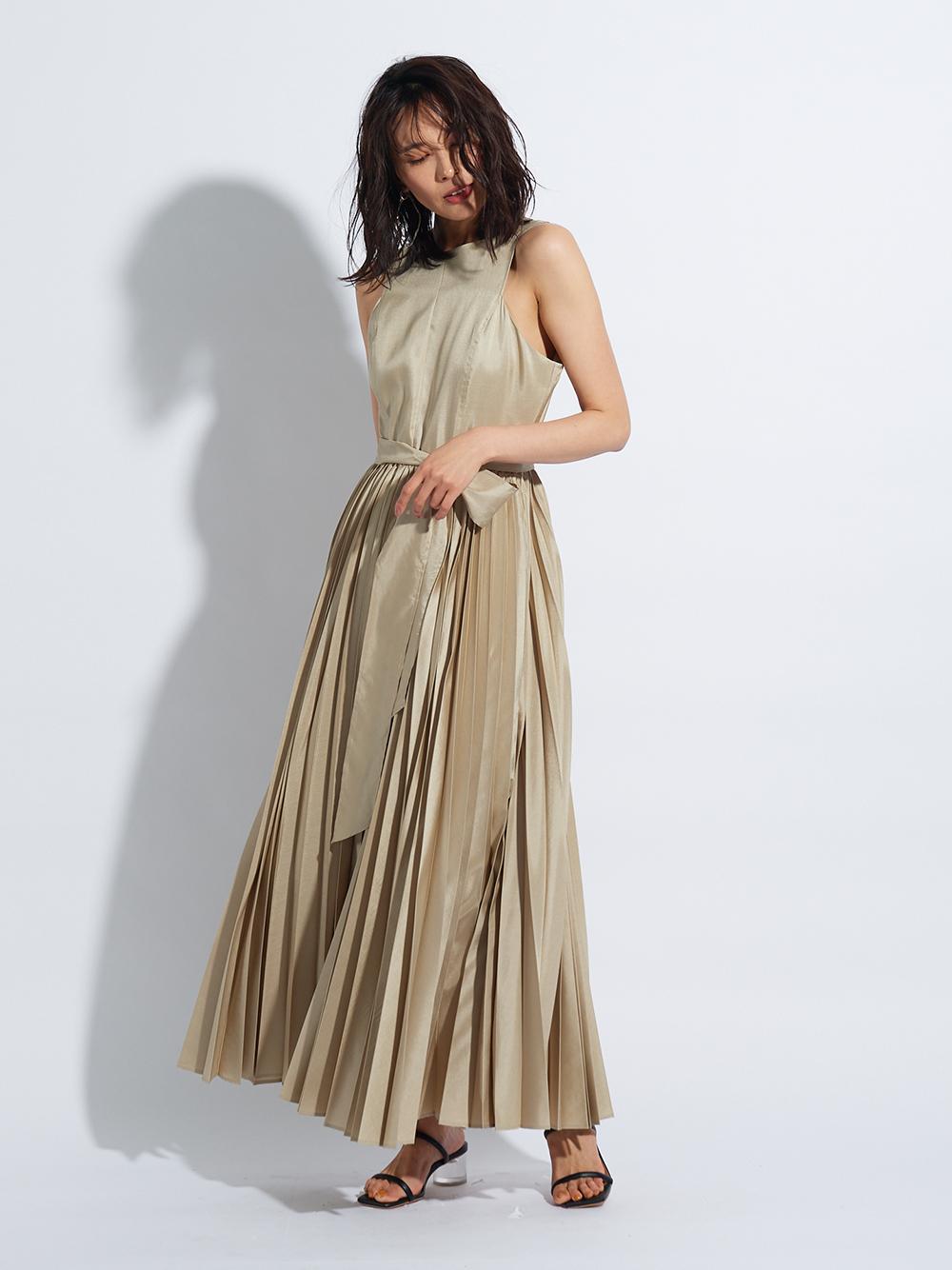 グロッシープリーツドレス(BEG-0)