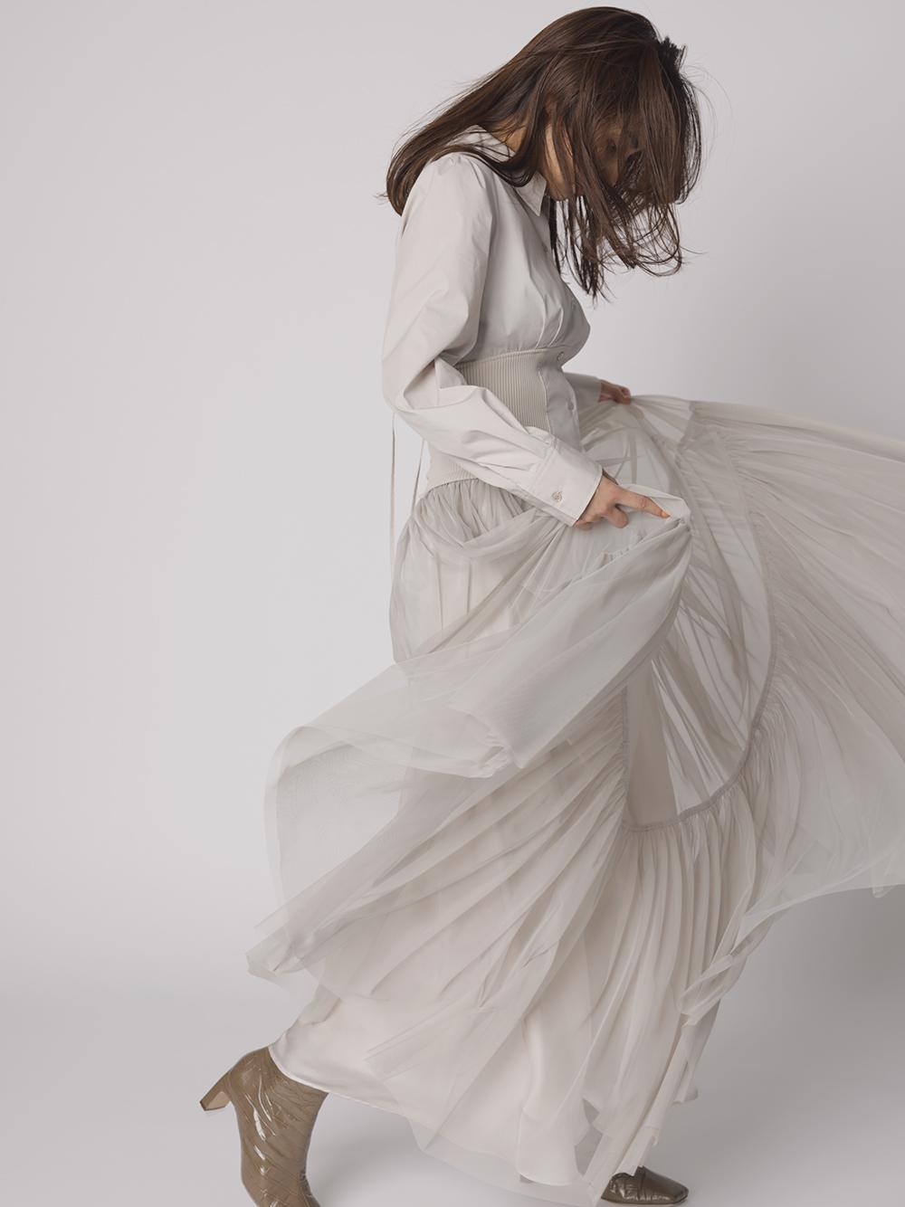チュールティアードドレス