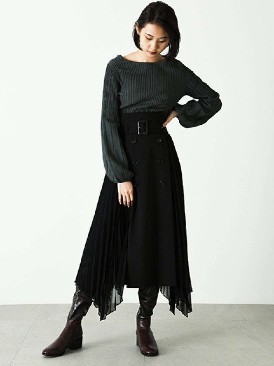 プリーツコンビスカート(BLK-0)