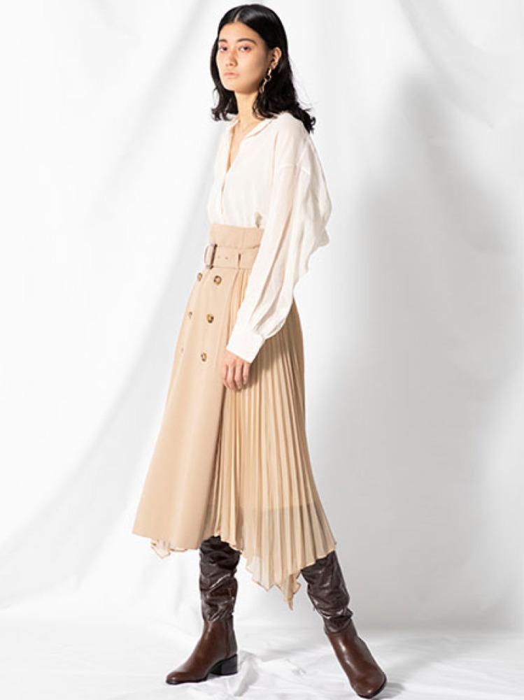 プリーツコンビスカート