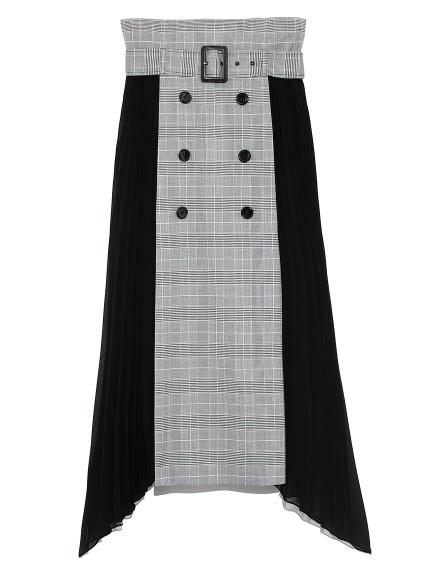 プリーツコンビスカート(CHECK-0)