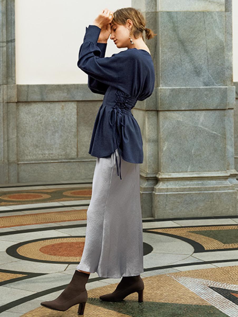 サイドボタンナローサテンスカート(LAV-0)