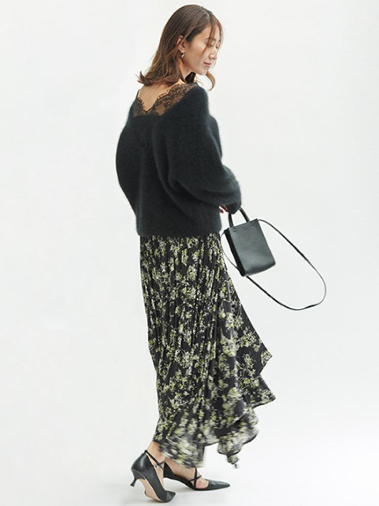 アシメロングプリーツスカート