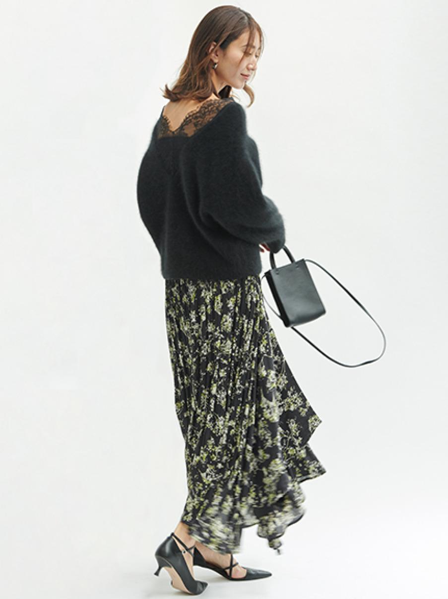 アシメロングプリーツスカート(BLK-F)