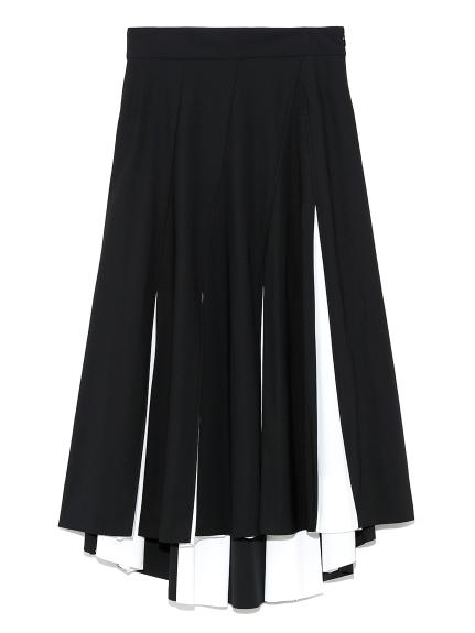 バイカラープリーツフレアスカート