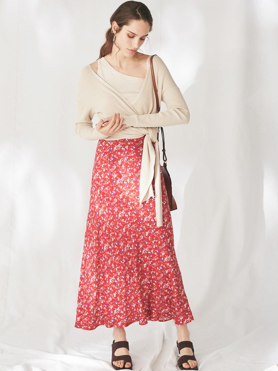 IPEKERプリントサテンナロースカート(RED-0)