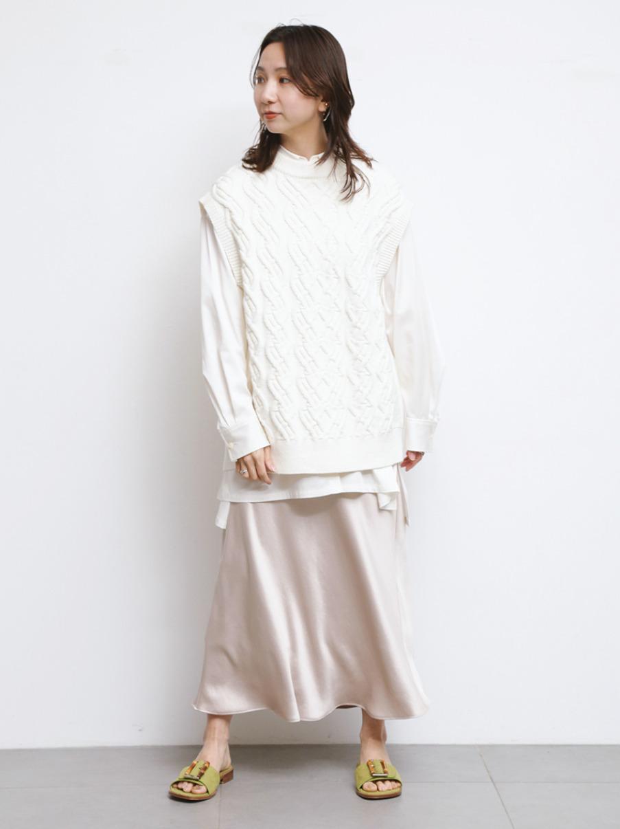 サテンナロースカート(BEG-0)