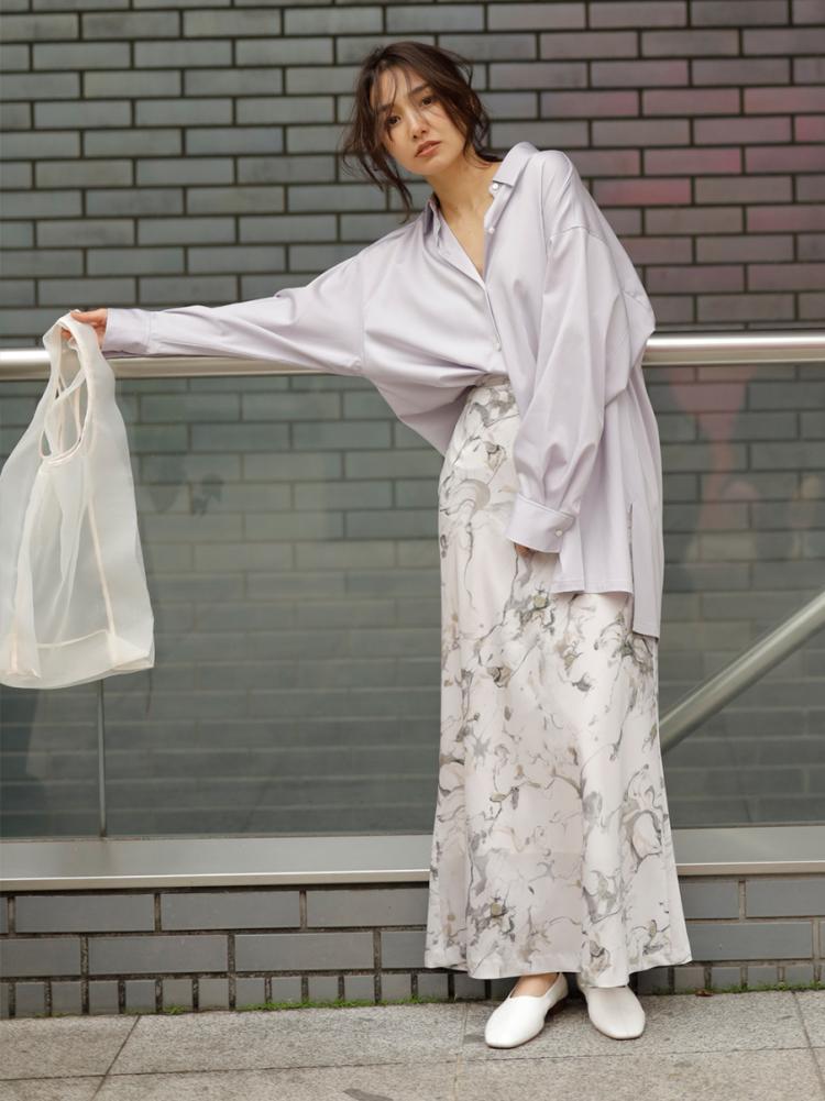 ナローマキシサテンスカート