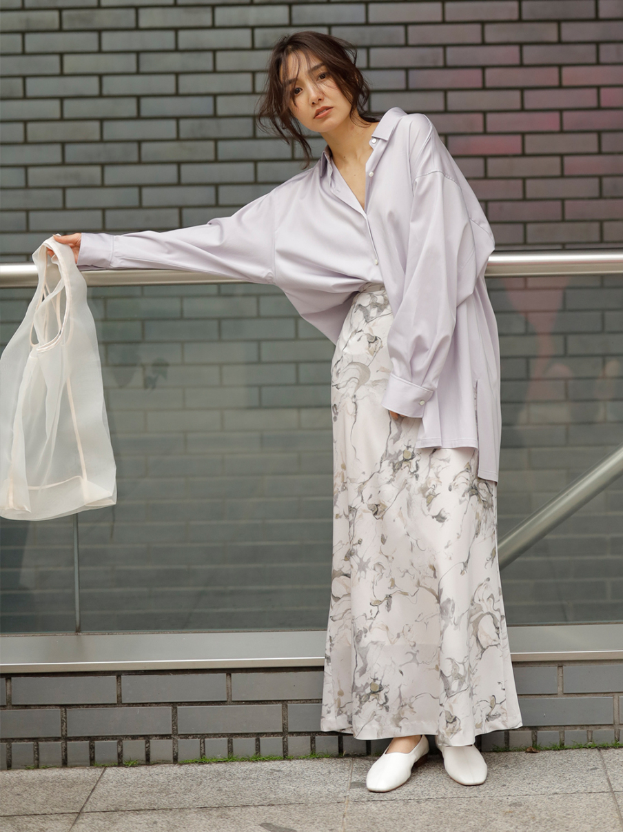 ナローマキシサテンスカート(IVR-0)