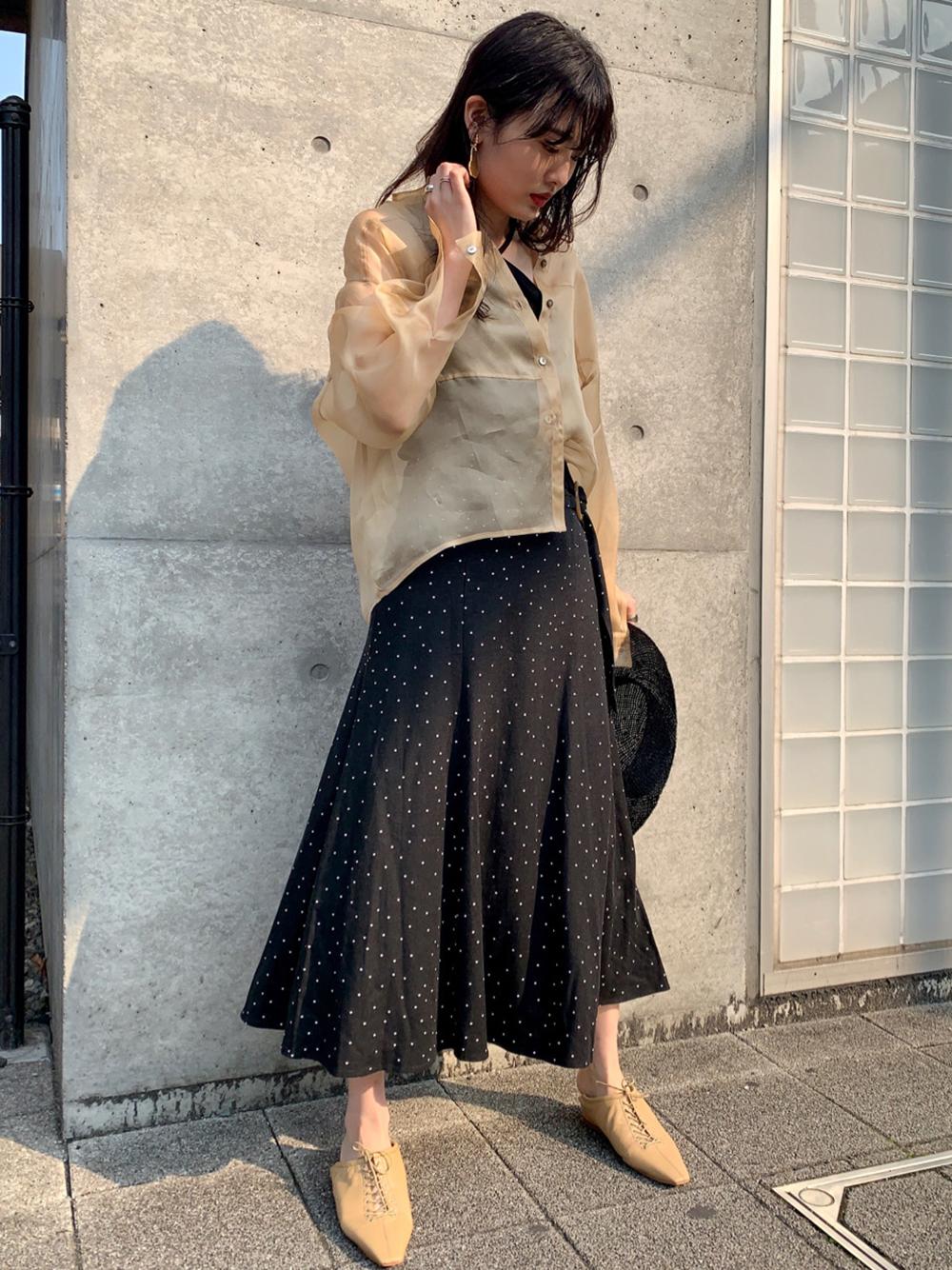 リネンナロースカート(BLK-0)