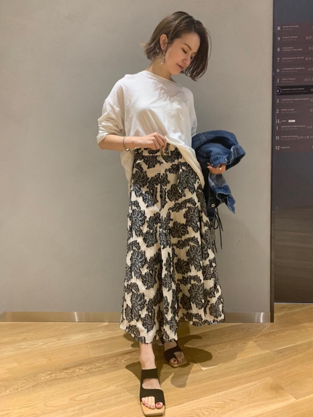 麻混ジャガードフレアースカート