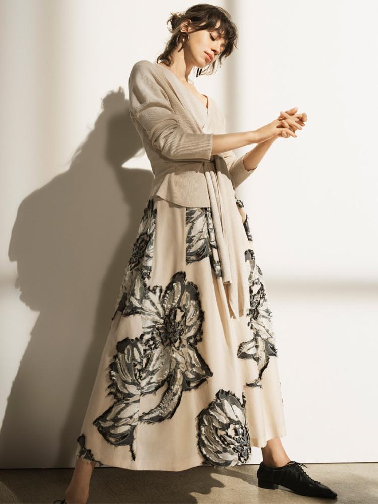 フラワージャガードスカート