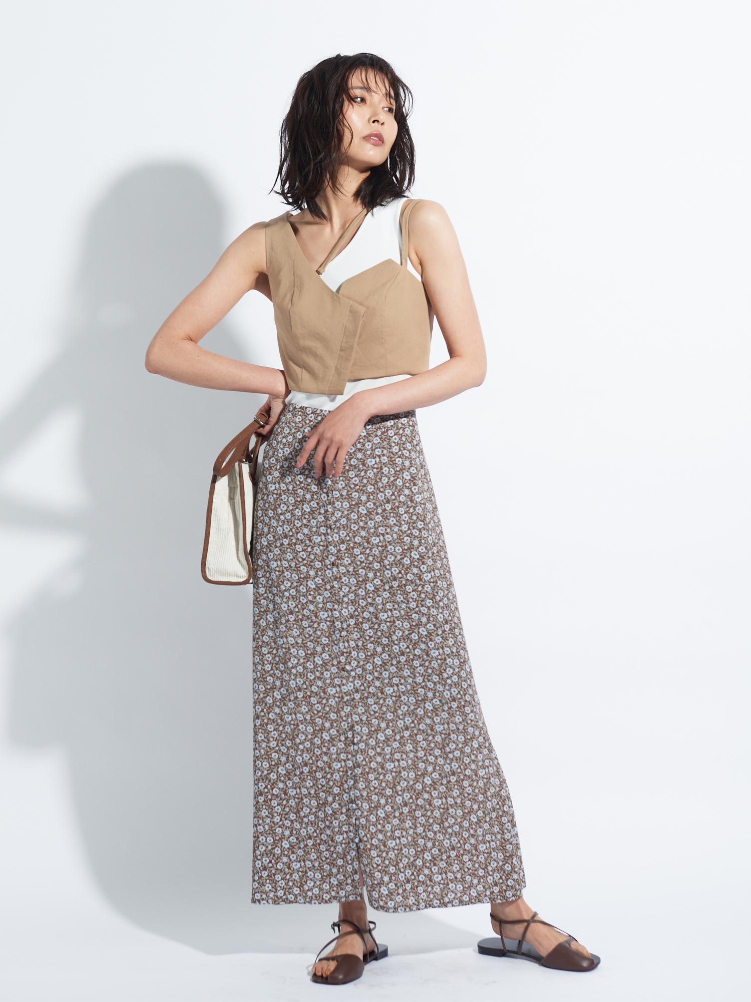 フラワープリントナロースカート