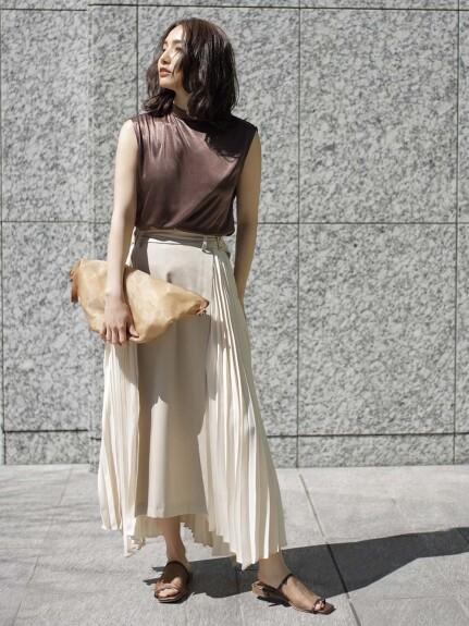 異素材プリーツスカート